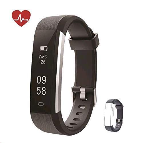 Kingsky Fitness Armband mit herzfrequenz Fitness Tracker mit Pulsmesser Wasserdicht IP67 Aktivitätstracker Pulsuhren Bluetooth Smart Armbanduhr Schrittzähler Damen (Schwarz)