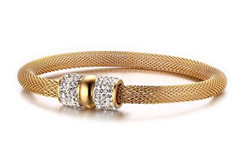 Vnox Edelstahl Mesh Kette Crystal Double Bead Magnetische Lock Wire Armreif Armband für Frauen Gold 21cm (Diamant Fischnetz)