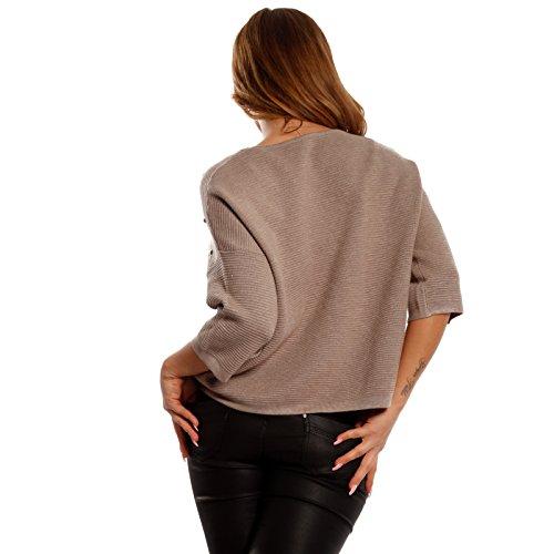 Damen Pullover Strickpullover mit Nieten Beige