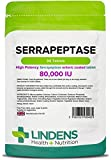 Lindens Serrapeptase 80,000IU Tablets | 90 Pack | High strength and phthalate-free enteric coated tablet to pass through stomach for maximum absorption