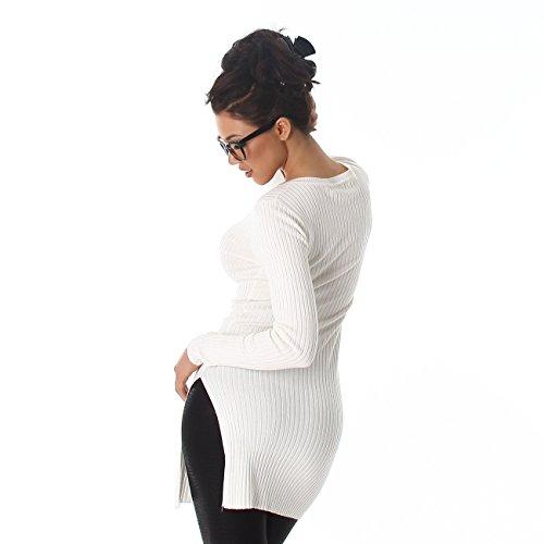 Femmes Voyelles tricot chandail Sweatshirt col V à manches longues long Jumper long Jumper 36,38,40 Blanc