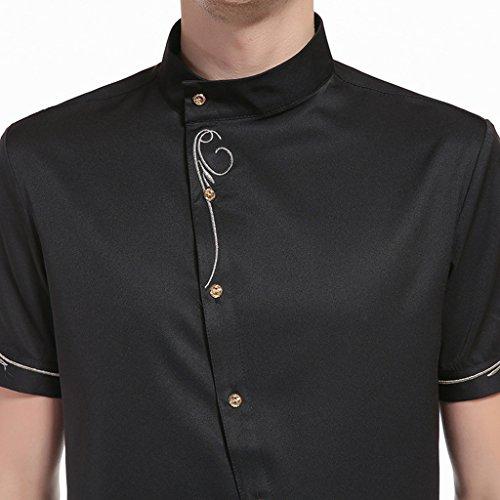 Whatlees Herren Lang Geschnittenes Hemd mit Asymmetrisches und aufgesticktes Design B508-Black