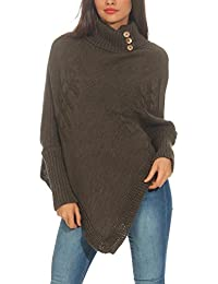 6ffc50c4fae9c7 Malito Damen Poncho mit Strick Muster | Umhang im eleganten Design |  Überwurf - Weste -
