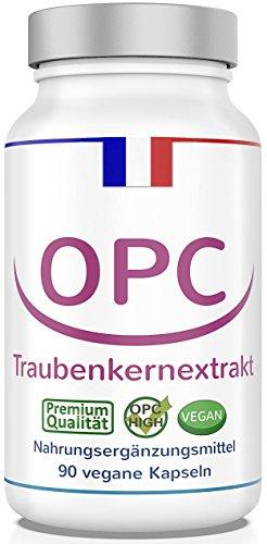 OPC Traubenkernextrakt • HOCHDOSIERT • LABORGEPRÜFT + ZERTIFIKAT • Premium-OPC aus französischen Weintrauben, 375 mg Extrakt je Kapsel, 1 Dose, 90 Kapseln (1 x 42,75 g) 100% VEGAN + OHNE Zusatzstoffe