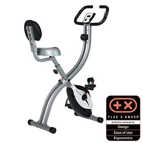 Ultrasport Heimtrainer F-Bike 200B mit Handpuls-Sensoren, mit Rückenlehne, faltbar, Heimtrainer, Fitness Fahrrad mit Trainingscomputer, Fahrradtrainer, Ergometer, Fitness Bike, silber/schwarz