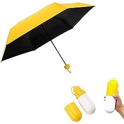 Pawaca Ultra Léger et Petit Voyage Anti-UV Mini Parapluie avec le Cas de Capsule Mignon Créatif, 5 pliage compact Poche Parapluie Parasol pour Femmes Filles Enfants