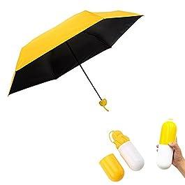 Pawaca Ultra Leggero e Piccolo Anti-UV Mini Pieghevole Ombrello di Viaggio con Creativo Carino Cassa della Capsula, 5…