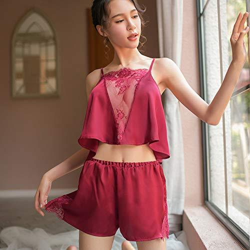 MeiLiZhiYe Pyjamas Weibliche Split Dünnschliff Micro-Transparent Ice Silk Lace Schürze Zweiteilige Home Service Anzug,rot,Einheitsgröße - Split-neck Silk