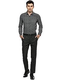 Turtle Men's Black Geometric Print Slim Fit Formal Shirt