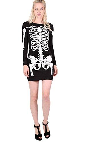PILOT® Halloween Skelett figurbetontes Kleid Schwarz