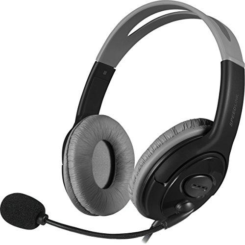 Speedlink Stereo Kopfhörer mit Mikrofon - LUTA Stereo Headset 3,5mm (Leichtgewicht von nur 150 Gramm - Ausgewogener Multimedia-Klang - Gepolsterte, luftig aufliegende Ohrmuscheln) für PC / Computer Kabellänge 1,9m schwarz