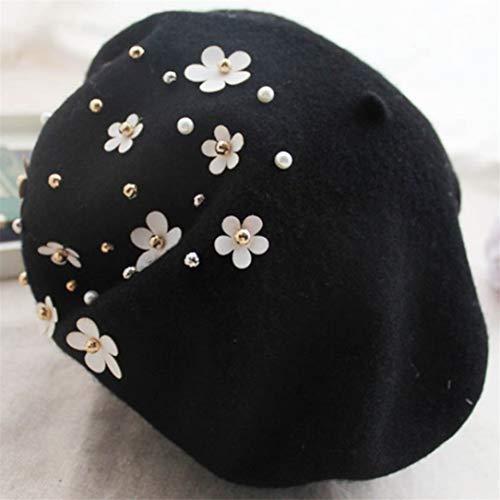 Lehao Reine Wolle Frauen Mädchen koreanische Kleine Daisy Blume Perle süße Maler Kappe Baskenmütze Herbst Winter warme Mütze, schwarz