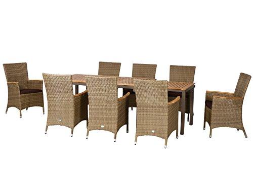 17-teilige Luxus Aluminium Teak Polyrattan Geflecht Gartenmöbelgruppe 'Fresno' , 8 Diningsessel, 8 Auflage und ein Ausziehtisch Geneva 160/260x90, braun - sand