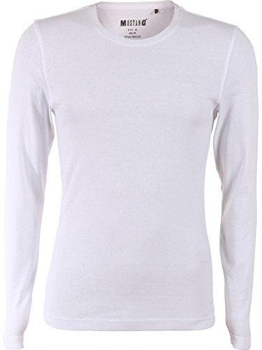 Mustang Herren Langarm-Shirt Crew Neck Basic General White (2045)