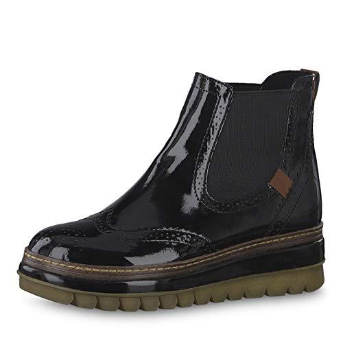 Tamaris Damen Stiefeletten 25448-23, Frauen Chelsea Boots, Stiefelette Bootie Schlupfstiefel hoch Damen Frauen weibliche,Black PATENT,41 EU / 7.5 UK - Hohe Bootie