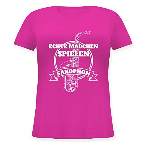 Instrumente - Echte Mädchen Spielen Saxophon - S (44) - Fuchsia - JHK601 - Lockeres Damen-Shirt in großen Größen mit Rundhalsausschnitt