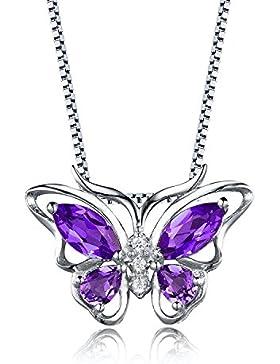 Aurora Tears Damen Zirkonia Anhänger Halskette mit Kette 925 Sterling Silber 18K Weißgold Kristalle