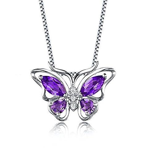 925 Sterling Silver Purple Amethyst Butterfly Pendant Necklace for Women Girls DP0013P