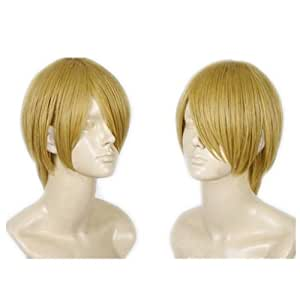 COSPLAZA Cosplay Perruque courte blonde Halloween Party Kanekalon Cheveux One Piece Sanji