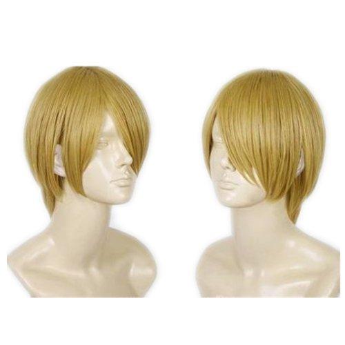 COSPLAZA Cosplay Kostueme Peruecke kurz Blond Halloween Party Haar mit Perueckennetz One Piece Sanji Fasching Karneval Haar