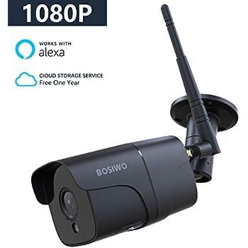 Bosiwo 1080P Outdoor Security Camera,Compatible with Alexa