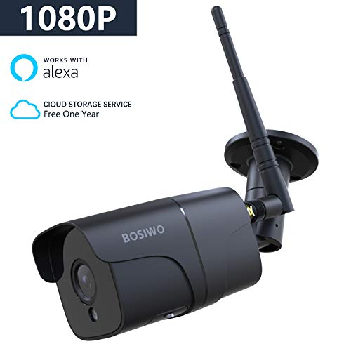 Bosiwo 1080P Outdoor Security Camera,Compatible with Alexa,IP66 Waterproof  WiFi Bullet Camera, Wireless IP Camera System with 82ft Night Vision,Motion