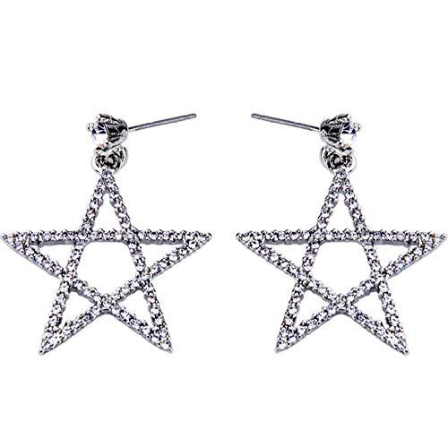 Regalo De Navidad Joyas Joyas Hueco Estrella De Cinco Puntas Pendientes De Diamantes Pendientes De Botón Pendientes De Viajero De Moda Para Mujer