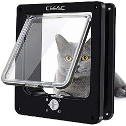 CEESC Chatière pour Chat, Chatière Imperméabiliser avec verrou Rotatif à 4 Voies pour Chat, Petit Chien, Facile à Installer et à Utiliser, Version améliorée