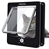CEESC Cat Flap, Magnetic Pet Door with Rotary 4 Way Lock for Cats, Kitties and Kittens, Upgraded Version