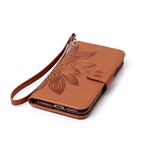 iPhone Case Cover Neue Stil gepresst Embossing Blumen Windchime Muster Retro Folio Flip Stehen Wallet Fall mit Handschlaufe für IPhone 7 ( Color : 12 , Size : IPhone 7 ) 15