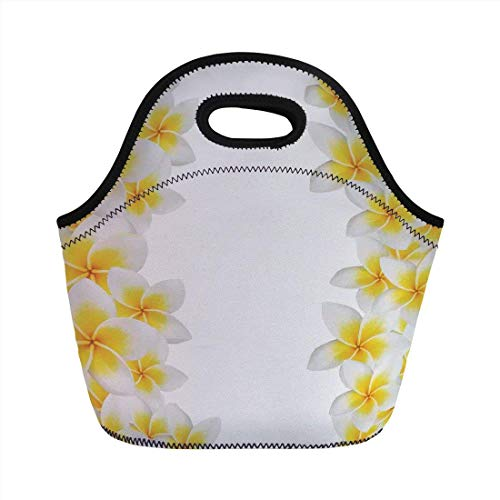Portable Bento Lunch Bag,Hawaiian Decorations,Frangipani Blossom Exotic Nature Garden Plumeria Flower Frame Relaxation,for Kids Adult Thermal Insulated Tote Bags - Kids Garden Hoe