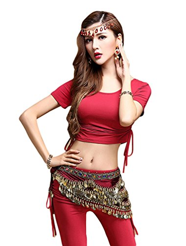 YiJee Costume Danse Orientale Paillettes Belly Dance Foulard Tops Rouge