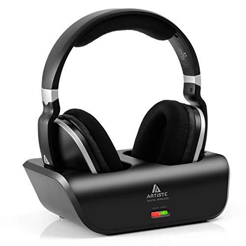 Kabellose Fernseher Funkkopfhörer 2.4GHz Übertragungsfrequenz Over Ear Digitales Kopfhörer mit Ladestation, 30 Meter Reichweite und 20 Stunden Akkukapazität Stereo Kopfhörer (Wireless-ladegerät Sender)