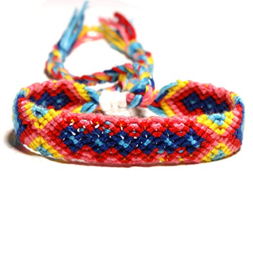 FlYHIGH böhmische handgemachte mehrfarbige geflochtene Nepal gewebte Regenbogen-Freundschaftsarmbänder - Armbänder Nepal Gold