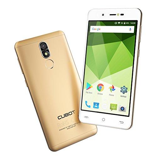 Cubot R9 - Móviles Libres de 5' IPS de VICTSING (3G, MT6580 1.3GHz, 2GB RAM+16GB ROM, 13MP Cámara Trasera y 5MP de Frontal, Android 7.0, Dual Sim, Huella Dactilar, 2600 mAh, Smartphone Libres Baratos) Oro