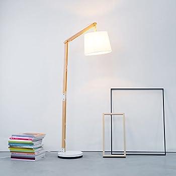 Moderna lampada a stelo in legno con paralume in tessuto, 1 x E27 ...