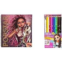 Depesche TOPModel Popstar Malbuch & 12 Buntstifte in Basic Farben