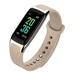 """Fitness Activity Tracker With 0.96"""" Color Touch Screen Wearable Bluetooth Smart Watch Sports Bracelet Pedometer Blood Pressure Measure Heart Rate Monitor Sleep Monitor Ip67 Waterproof Wristband Health Monitoring Sedentary Reminder Drink Reminder Alarm Clock Refuse Call Message Reminder Movement Trajectory Anti-lost For Iphone Samsung Xiaomi Sony Android Gift For Women Men Friends (Gold)"""