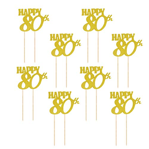 r Glitter Happy 80th Kuchendeckel 80. Geburtstag Kuchendekoration Party Zubehör 12 Stück (Golden) ()