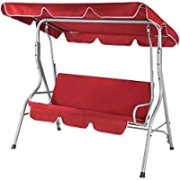 Casaria Garden Swing Chair 3 Seater Outdoor Indoor Canopy Steel Cushioned Seat Hammock Bench 250KG Capacity (Red)