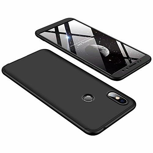 DESCHE Funda Xiaomi Redmi S2 Negro PC Duro 360 Grados Cuerpo Completo Cubierta Protectora Ultrafino Anti-rasguños Parachoque Mate Phone Case 3 in 1 Negro