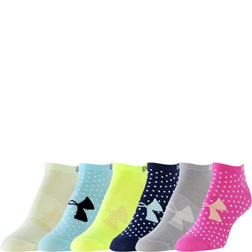 Under Armour Ladies Liner No Show Patterned 6 Pack Socks, Mixed Colours