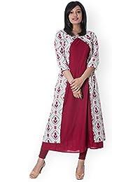 [Sponsored]Mystique India Womens Cotton Hand Block Double Layered Kurta Dress (Maroon)