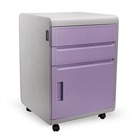 Rolling Storage Cabinet with Drawers, EVERTOP Combination Lock Storage Unit Cupboard ABS Plastic Filing Cabinet with Wheels Home Studies Bedroom Office Furniture Desktop Extension, Purple