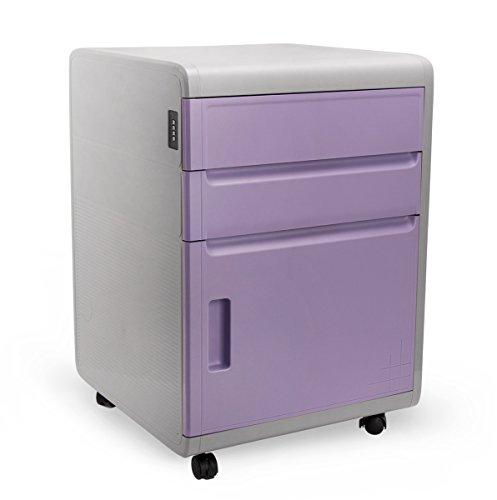 Büro Aktenschrank ABS Schreibtischcontainer Büro Schrank mit Schloss Kunststoff Rollcontainer Schreibtisch Bürocontainer Schubladen Standcontainer Schlafzimmer Nachttische 41 x 42 x 59cm