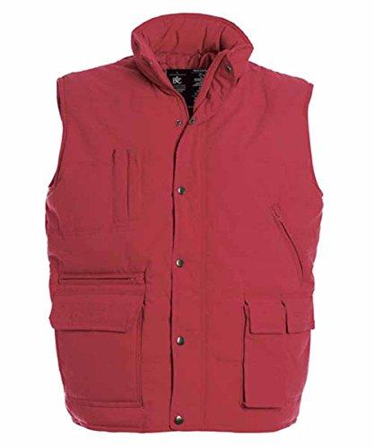 B & C–Bodywarmer Explorer–Weste Daunenjacke sehr warm Anorak ohne Ärmel–427–42–Herren Rot - Rot