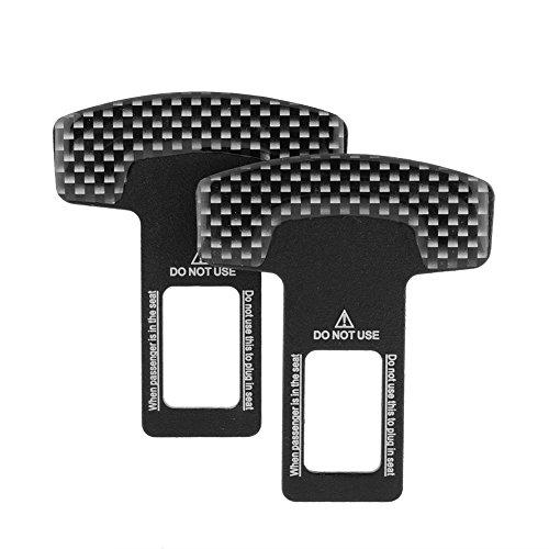 ZHIXX MALL 2pcs Kohlefaser Auto Gurtschlosseinsatz Ausstellen des Sicherheitsgurtalarms,Universal Gurtwarner Piepton Ersatz Gurtadapter