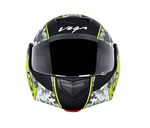 Vega Crux DX Full Face Helmet (Camouflage Dull Black and Neon Yellow, L)