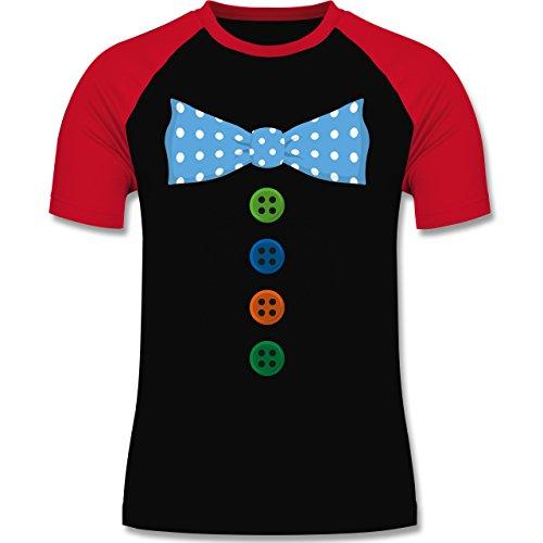 Karneval & Fasching - Clown Kostüm Blaue Fliege - zweifarbiges Baseballshirt für Männer Schwarz/Rot
