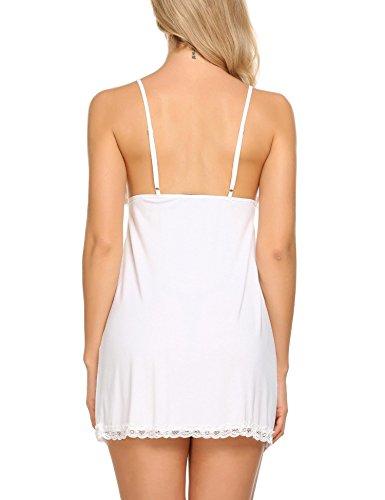 Avidlove Damen Sexy Nachthemd Kurz Negligee Nachtwäsche Sleepwear Unterkleid Lingerie Unterröcke Kleider Babydoll mit String & Spitze Dekor B-Weiß